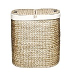 Seville Classics Water Hyacinth Oval Double Hamper in Tan