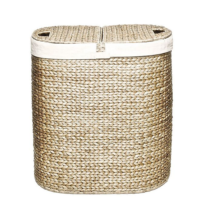 Alternate image 1 for Seville Classics Water Hyacinth Oval Double Hamper in Tan