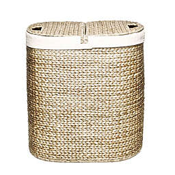 Seville Clics Water Hyacinth Oval Double Hamper In Tan