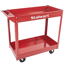 Stalwart Heavy Duty Metal Supply Cart in Red