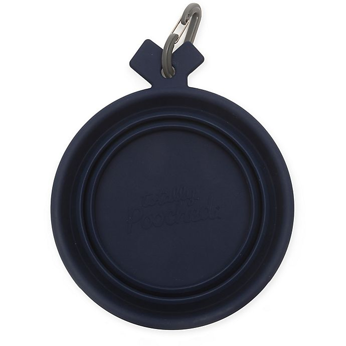 Alternate image 1 for Totally Pooched™ Medium Travel Collapsible Bowl in Navy