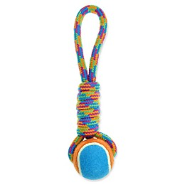 Bounce & Pounce Braided Rope Tug Toy With Tennis Ball in Jewel Tones