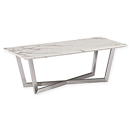 Southern Enterprises Wrexham Faux Marble Cocktail Table in Soft Ivory/Grey