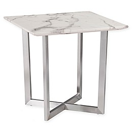 Southern Enterprises Wrexham Faux Marble End Table in Soft Ivory/Grey