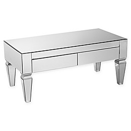 Southern Enterprises Darien Contemporary Mirrored Rectangle Cocktail Table in Silver
