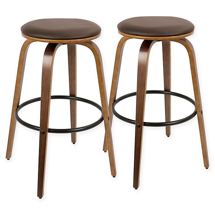 Buy Lumisource Porto Bar Stools In Walnut Brown Set Of 2