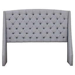 Madison Park Harper Upholstered Adjustable Headboard in Silver
