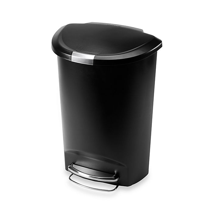 Alternate image 1 for simplehuman® Plastic Semi-Round 50-Liter Step-On Trash Can in Black