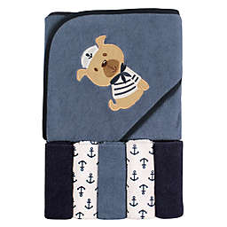 Luvable Friends® Dog Hooded Towel and Washcloth Set in Blue