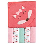 Luvable Friends® 6-Piece Fox Hooded Towel and Washcloth Set in Pink
