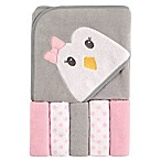 Luvable Friends® 6-Piece Penguin Hooded Towel and Washcloth Set in Gray/Pink