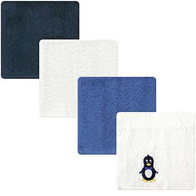Luvable Friends® 4-Pack Penguin Washcloths in Blue