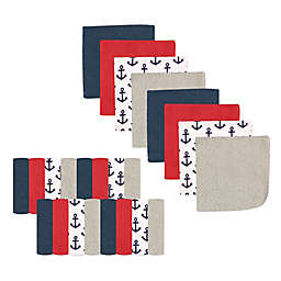 Luvable Friends® 24-Pack Anchor Washcloths in Red/Blue