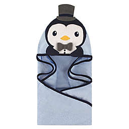 Hudson Baby® Mr. Penguin Hooded Towel in Light Blue