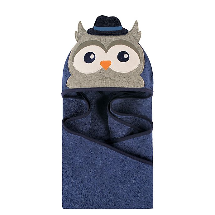 Alternate image 1 for Hudson Baby® Mr. Owl Hooded Towel in Dark Blue