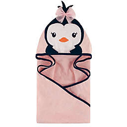Hudson Baby® Miss Penguin Hooded Towel in Navy