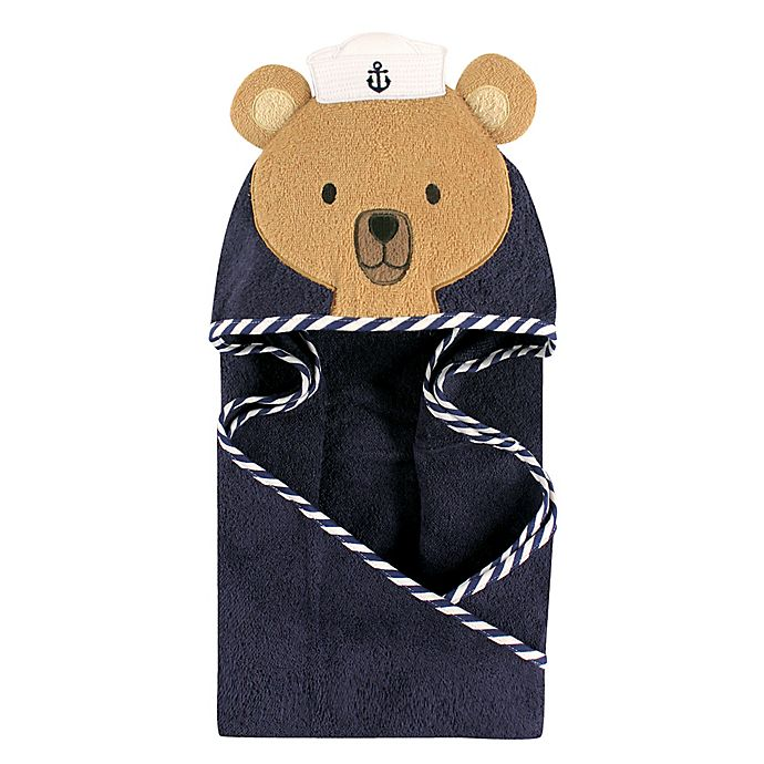 Alternate image 1 for Hudson Baby® Sailor Bear Hooded Towel in Brown