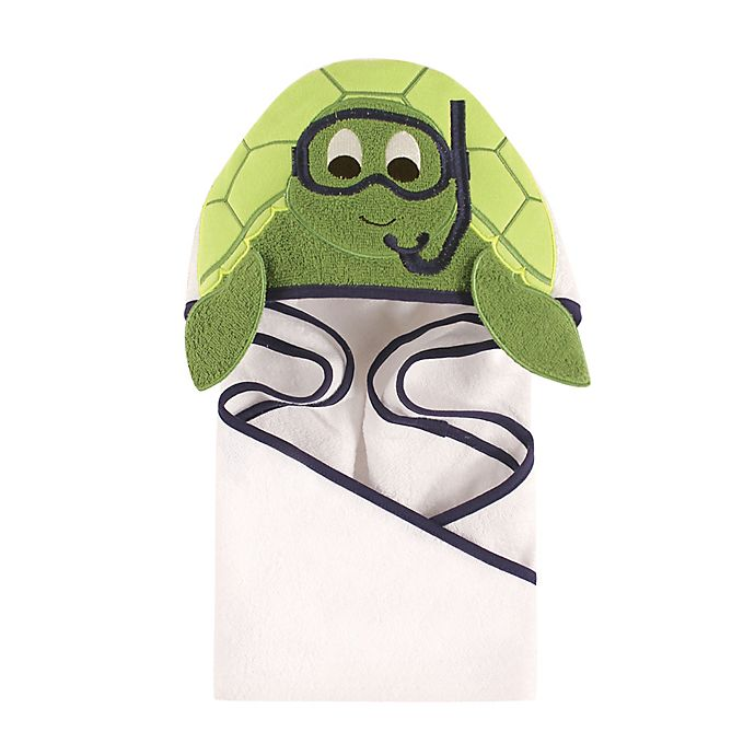 Alternate image 1 for Hudson Baby® Scuba Turtle Hooded Towel in Green