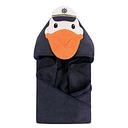 Hudson Baby® Captain Pelican Hooded Towel in Navy/Orange