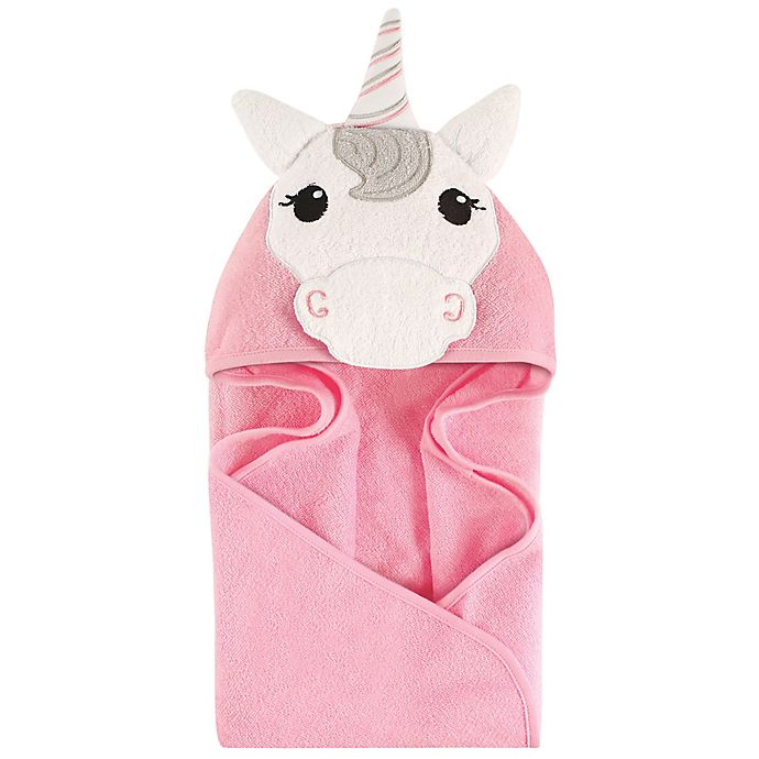 Alternate image 1 for Hudson Baby® Unicorn Hooded Towel in Pink/White