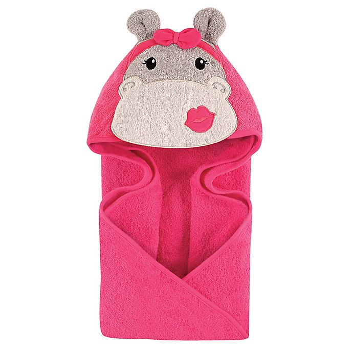 Alternate image 1 for Hudson Baby® Hippo Hooded Towel in Grey/Pink