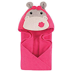 Hudson Baby® Hippo Hooded Towel in Grey/Pink
