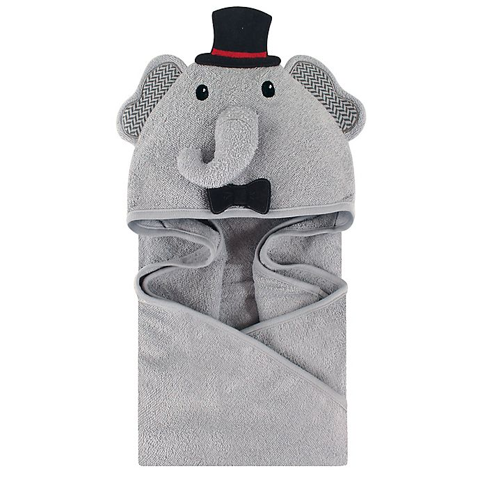 Alternate image 1 for Little Treasures Mr. Elephant Hooded Towel in Gray/Black