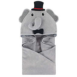 Little Treasures Mr. Elephant Hooded Towel in Gray/Black
