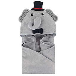 Little Treasures Mr. Elephant Hooded Towel in Gray/Black
