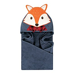 Little Treasures Lumberjack Fox Hooded Towel in Blue/Red
