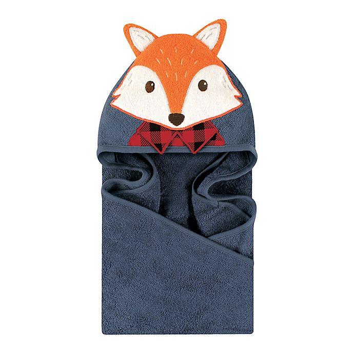 Alternate image 1 for Little Treasures Lumberjack Fox Hooded Towel in Blue/Red