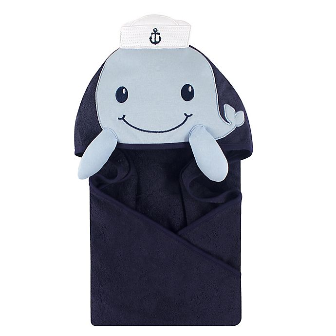 Alternate image 1 for Hudson Baby® Sailor Whale Hooded Towel in Blue/White