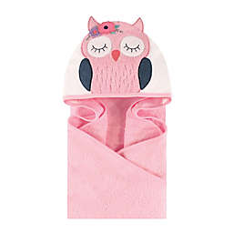 Little Treasures Boho Chic Owl Hooded Towel in Pink/Blue