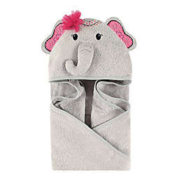 Little Treasures Boho Elephant Hooded Towel in Gray/Pink