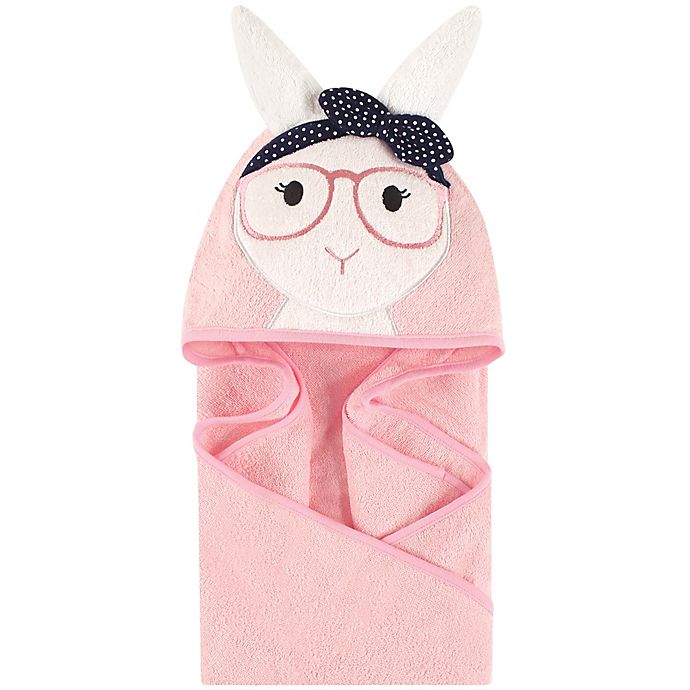Alternate image 1 for Little Treasures Hip Bunny Hooded Towel in Pink/Navy