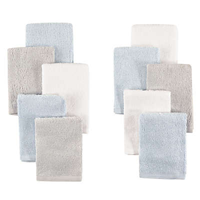 Little Treasures 10-Pack Luxurious Washcloths in Blue/Grey
