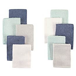 Little Treasures 10-Pack Luxurious Washcloths in Denim/Mint