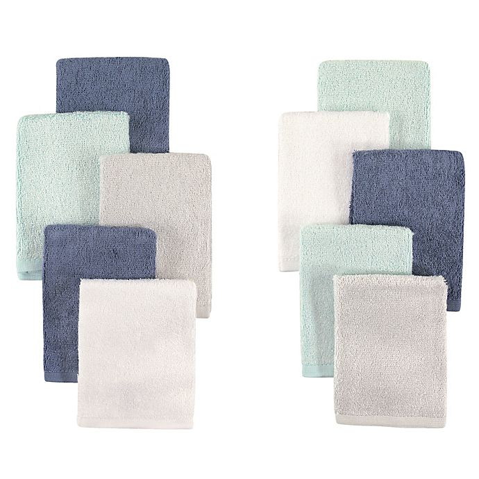 Alternate image 1 for Little Treasures 10-Pack Luxurious Washcloths in Denim/Mint