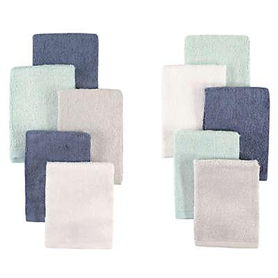 Little Treasures 10-Pack Luxurious Washcloths in Denim/Mint