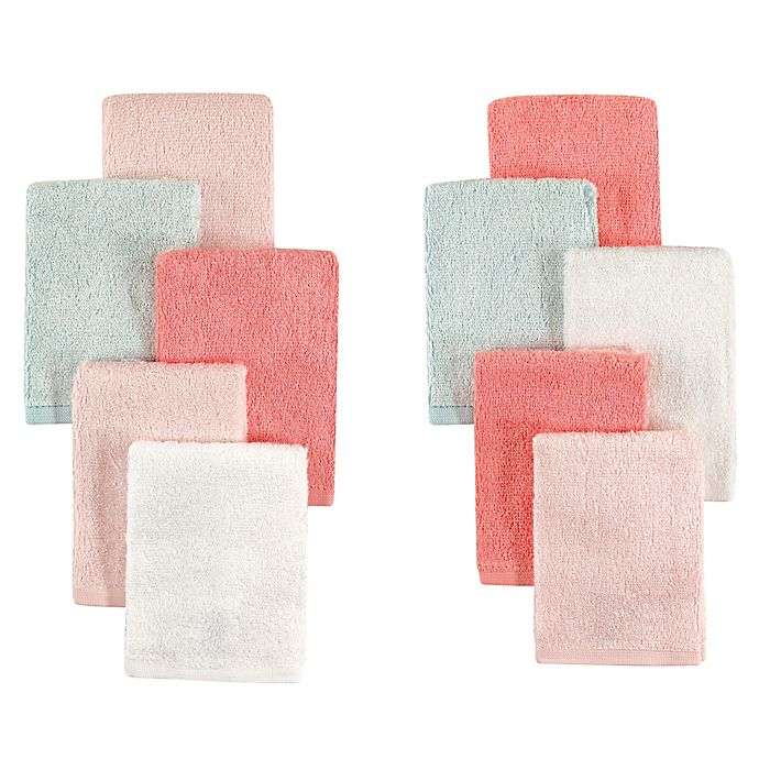 Alternate image 1 for Little Treasures 10-Pack Luxurious Washcloths in Coral/Mint