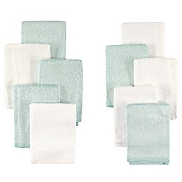 Little Treasures 10-Pack Luxurious Washcloths in Mint/White