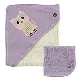Hudson Baby® Owl Hooded Towel and Washcloth in Purple