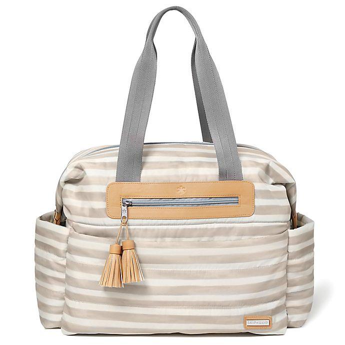 Alternate image 1 for SKIP*HOP® Riverside Stripe Ultra Light Satchel Diaper Bag in Oyster