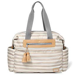 SKIP*HOP® Riverside Stripe Ultra Light Satchel Diaper Bag in Oyster