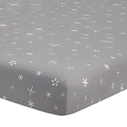 Babyletto Galaxy Galactic Stars Mini Crib Sheet in Grey