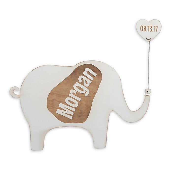 Alternate image 1 for Elephant Wood Plaque in White