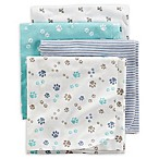 carter's® 4-Pack Puppy Paw Receiving Blankets in Blue/Teal