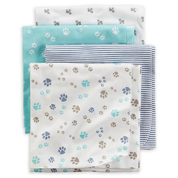 Carter S 174 4 Pack Puppy Paw Receiving Blankets In Blue Teal