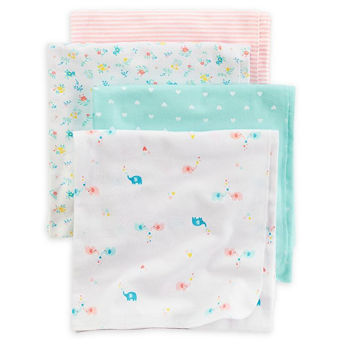 Carter S 174 4 Pack Heart Elephant Receiving Blankets In Teal