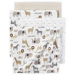 carter's® 4-Pack Safari Print Receiving Blankets in Brown/Grey